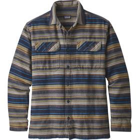 Patagonia M's LS Fjord Flannel Shirt Folk Dobby: Navy Blue